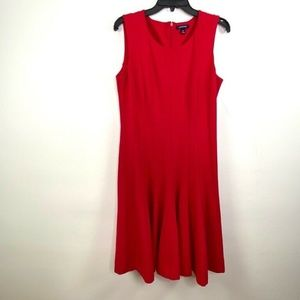 Lands End 14 Pleated Flare Jersey Dress Red